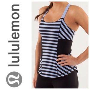 Lululemon Sea Stripe Work it Out Tank. Size 6